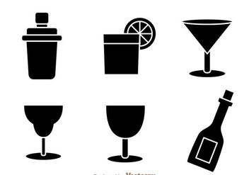 Black Cocktail Icons - Free vector #274315