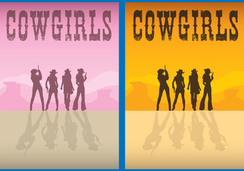 Cowgirls Flyer Vectors - бесплатный vector #274345