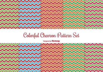 Colorful Chevron Pattern Set - vector gratuit #274365