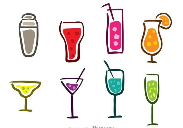 Colorful Cocktail Icons - Free vector #274375
