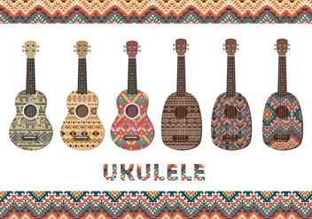 Ukulele with patterns - Free vector #274435