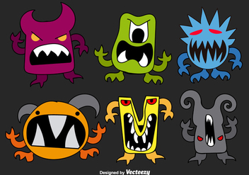 Hand drawn monsters - vector gratuit #275135