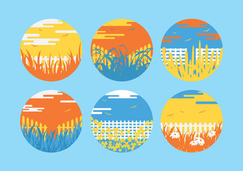 Colorful Grass Scene Vectors - Free vector #275195