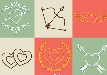 Valentine Days Line Icons - vector gratuit #275245