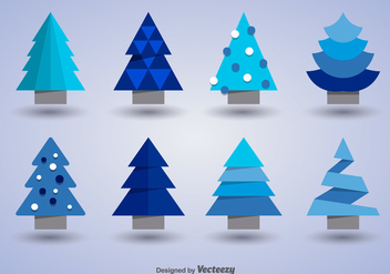 Christmas trees icons - vector gratuit #275265