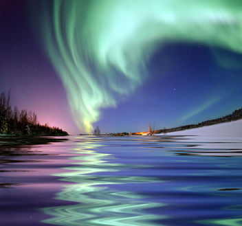 Aurora Borealis, the colored lights seen in the skies around the North Pole, the Northern Lights, from Bear Lake, Alaska - бесплатный image #284805