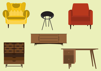 Vector Set of Mid Century Furnitures - vector gratuit #297835