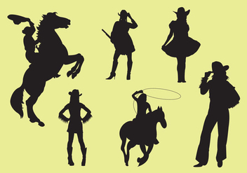 Vector Illustration of Cowgirl Silhouettes - vector gratuit #297845