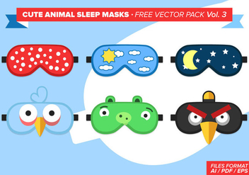 Cute Animal Sleep Masks Free Vector Pack Vol. 3 - Free vector #297905