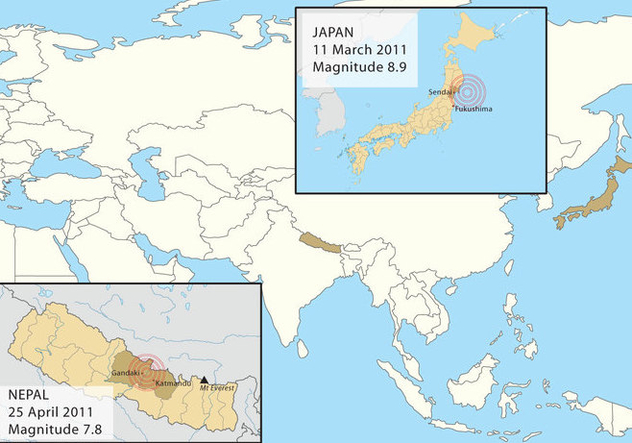 Nepal And Japan Earthquakes - Free vector #297955