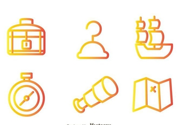 Treasure Hunter Outline Icons - Free vector #297985