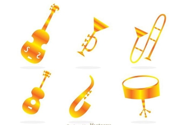 Musical Instrument Gold Icons - Free vector #298005