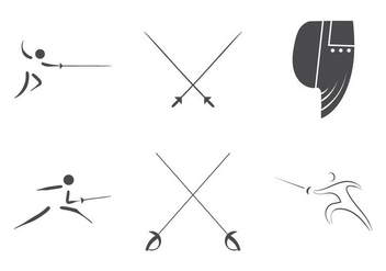 Fencing vector logo set - vector gratuit #298035
