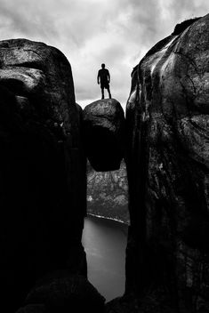 Kjeragbolten - Kjerag, Norway - Black and white street photography - Free image #300315