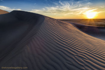 Sunset over rippled sand dune in Idaho - бесплатный image #301095