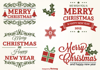 Typographic Christmas Label Set - vector gratuit #301805