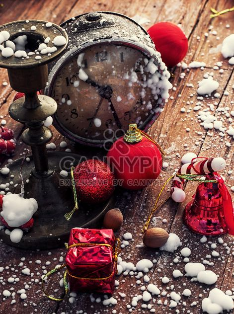 Christmas decorations, vintage clock and candlestick - Free image #302015