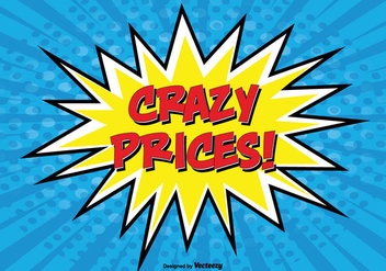 Comic Style Promotional ''Crazy Prices'' Illustration - Kostenloses vector #302155