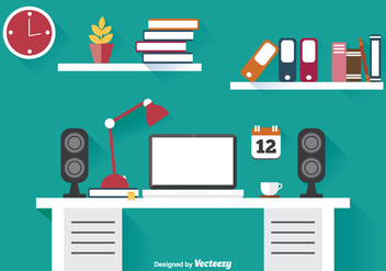 Flat Office Illustration - vector gratuit #302165