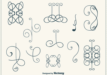 Hand Drawn Curly Swirl Vector Set - Free vector #302185