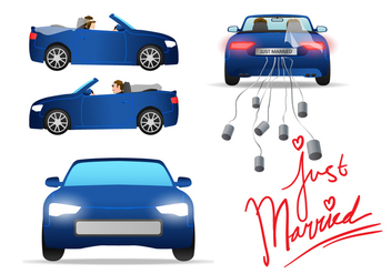 Just Married Car Vector - Free vector #302215