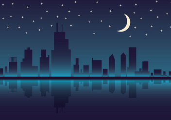 Free Chicago Skyline Night Vector Illustration - бесплатный vector #302575