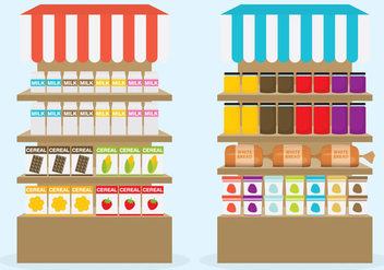 Supermarket Shelf Vectors - Free vector #302675