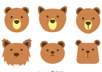 Brown Bear Face Vectors - vector gratuit #302985