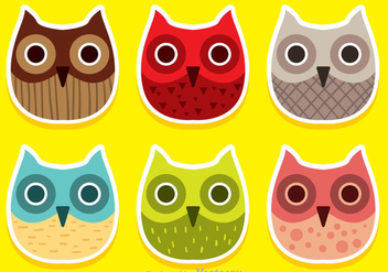 Colorful Owl Face Vectors - vector gratuit #303005