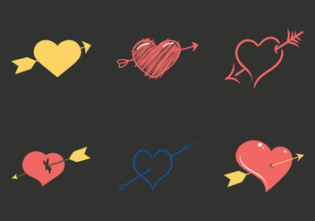 Free Arrow through heart Vector Illustration - Free vector #303025