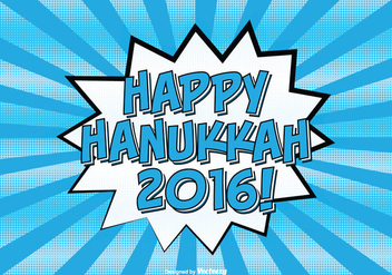Comic Style Happy Hanukkah Illustration - Free vector #303055