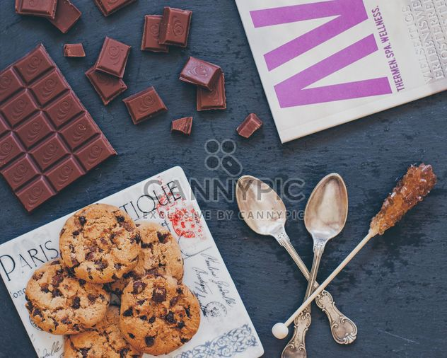 Chocolate chip Cookies and chocolate - Free image #303235
