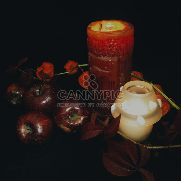 Red apples with candle - Free image #303285