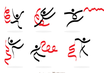 Gymnast With Ribbon Icons - vector #303545 gratis