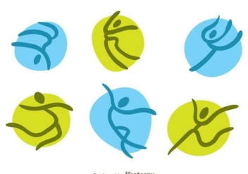 Green And Blue Vector Gymnast Icons - Free vector #303555