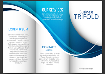 Template design of blue wave trifold brochure - vector gratuit #303615