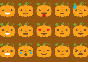 Pumpkin Emoticon Vectorss - Free vector #304415