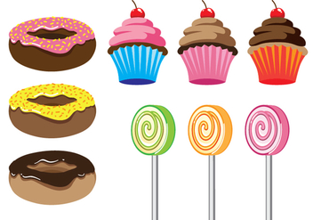 Donuts, Cupcakes, and Lolipop Vectors - бесплатный vector #304875
