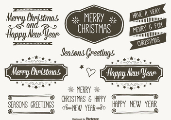 Hand Drawn Style Christmas Labels - vector gratuit #304895