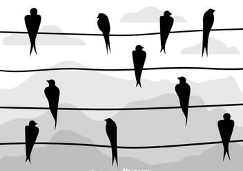 Swallow Silhouette On A Wire Vectors - vector gratuit #304945