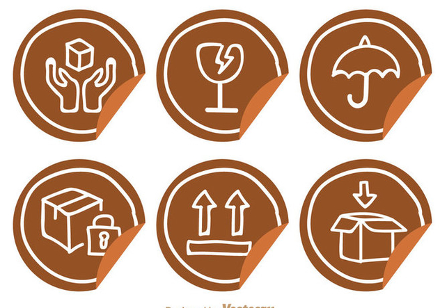 Fragile Sticker With Hand Drawn Icons - Free vector #305015