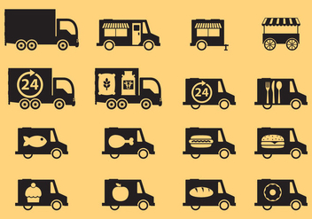 Food Trucks Icons - vector #305105 gratis