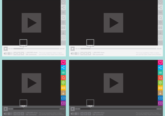 Media Player With Social Buttons - Free vector #305225