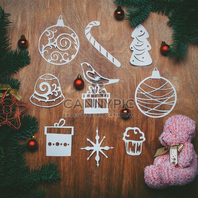 Teddy bear and Christmas decorations - Free image #305405