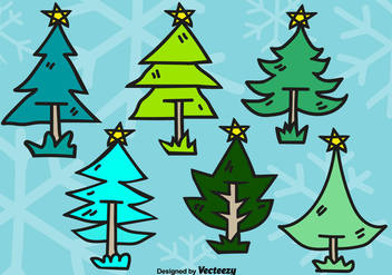 Doodle christmas trees - Free vector #305515