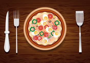 Pizza design with toppings - vector gratuit #305565