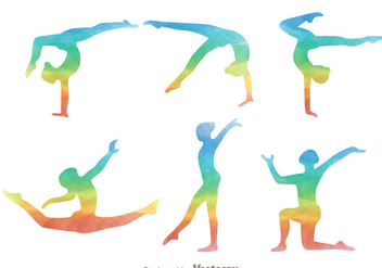 Gymnast Rainbow Silhouette Icons - Kostenloses vector #305575
