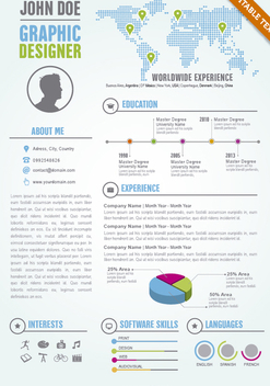 Graphic Designer editable resume cv template - Free vector #305645