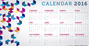 2016 Calendar colorful - Free vector #305655
