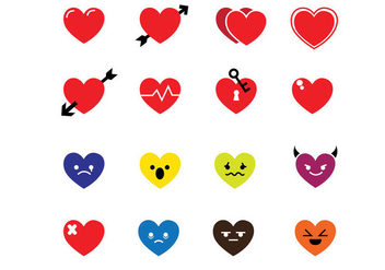 Hearts Icons - vector gratuit #305775